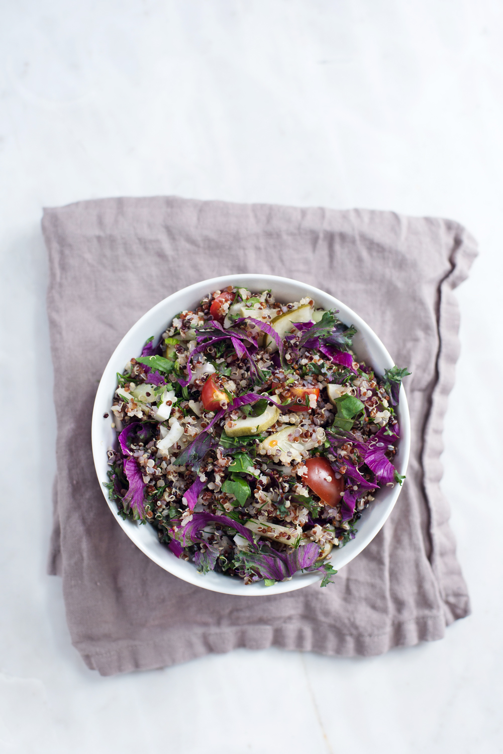 Quinoa Salad with Kale and Pickles